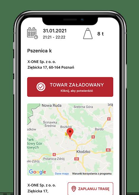 Aplikacja mobilna dla kierowców realizujących transport zbóż