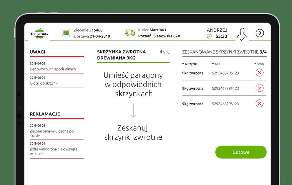 Aplikacja wspierająca magazyn na tablet - skanowanie produtów