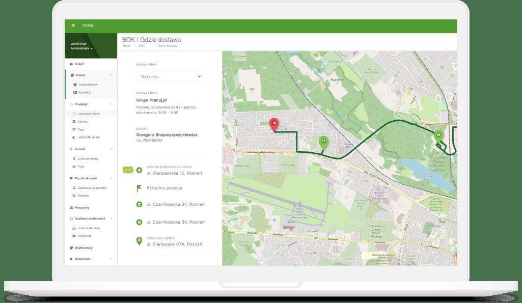 Śledzenie statusu dostawy i pozycji kuriera na mapie
